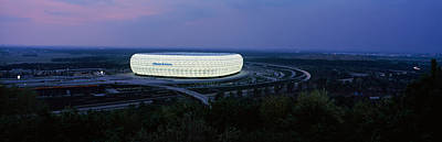 Stadium Scene Photograph - Soccer Stadium Lit Up At Nigh, Allianz by Panoramic Images
