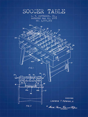 Football Drawing - Soccer Table Game Patent From 1975 - Blueprint by Aged Pixel