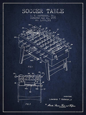 Sports Royalty-Free and Rights-Managed Images - Soccer Table Game Patent from 1975 - Navy Blue by Aged Pixel