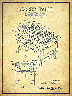Sports Royalty-Free and Rights-Managed Images - Soccer Table Game Patent from 1975 - Vintage by Aged Pixel