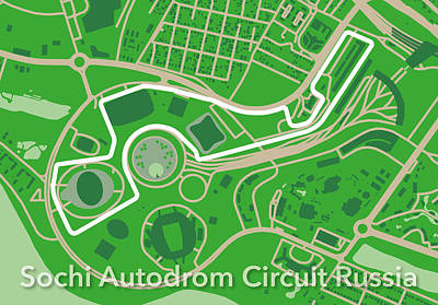 Printed Circuit Digital Art - Sochi Autodrom Circuit Russia by Big City Artwork