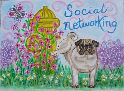 Social Networking Pug Art Print