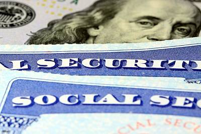 Social Security Card And Us Currency One Hundred Dollar Bill Original by Larryhw Larryhw