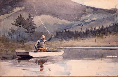 Fisherman Painting - Society And Solitude by Celestial Images