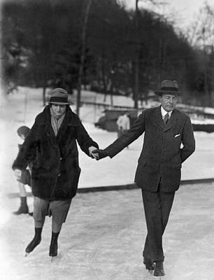 Society Ice Skating In Tuxedo, Ny Art Print by Underwood Archives