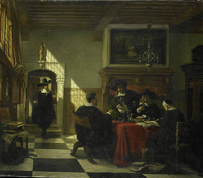 Society In 17th-century Costume At A Table On Which Art Print by Litz Collection