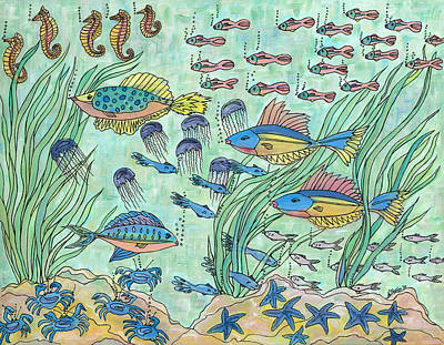 Painting - Society Of Fish by Nancy Taylor