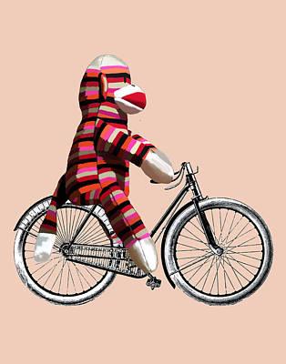 Sock Monkey And Bicycle Art Print