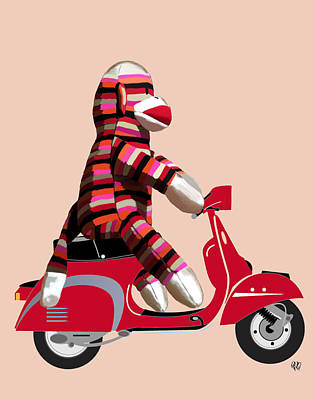 Sock Monkey And Moped Art Print by Kelly McLaughlan