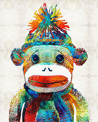 Primary Painting - Sock Monkey Art - Your New Best Friend - By Sharon Cummings by Sharon Cummings