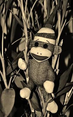 Mixed Media - Sock Monkey In His Natural Habitat In Sepia by Rob Hans