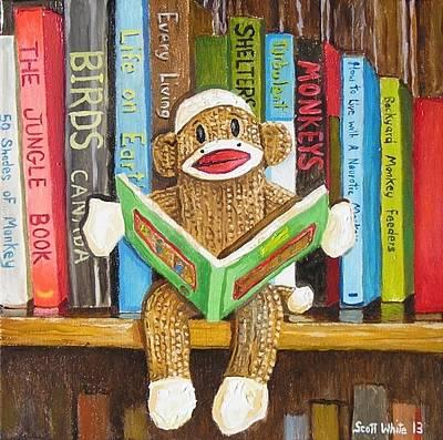 Bookshelf Painting - Sock Monkey Reading A Book by Scott White