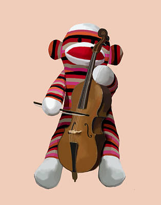 Sock Monkey With Cello Art Print by Kelly McLaughlan