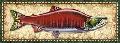 Sockeye Painting - Sockeye Salmon Spawning Panel by JQ Licensing