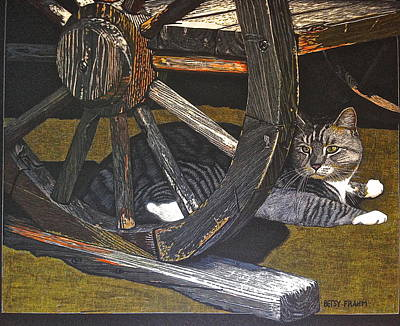 Wagon Wheels Mixed Media - Socks' Siesta  by Betsy Frahm