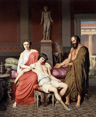 Courtesan Painting - Socrates Reprimanding Alcibiades In The House Of A Courtesan by German Hernandez Amores
