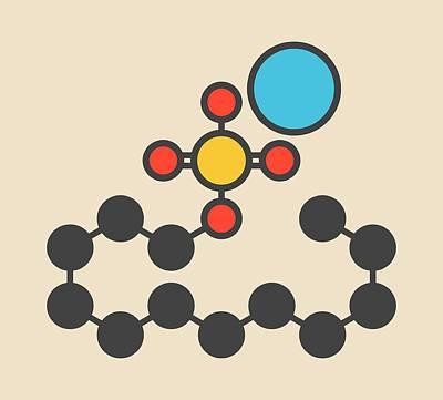 Sodium Lauryl Sulfate Molecule Art Print by Molekuul