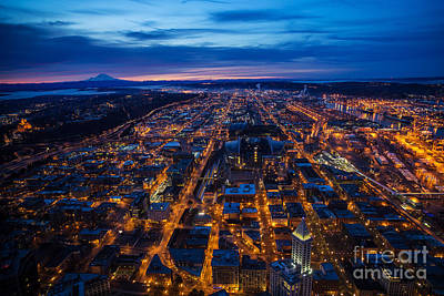 The Wheel Photograph - Sodo Seattle Sunrise by Mike Reid