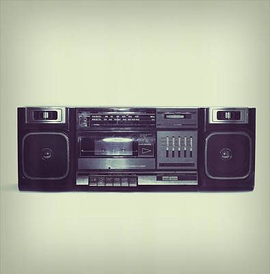 Hop Photograph - Soft Black Boombox Centered With White by Sjharmon