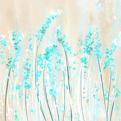 Soft Blues- Teal And Cream Art Art Print