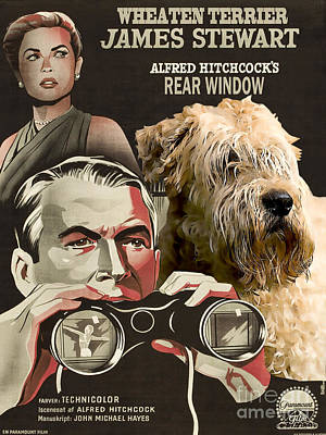 Dog Poster Painting - Soft-coated Wheaten Terrier  - Wheaten Terrier Art Canvas Print - Rear Window Movie Poster by Sandra Sij