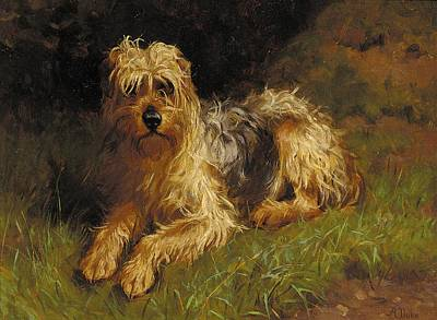 Plant Friend Painting - Soft Coated Wheaten Terrier  by Alfred Duke