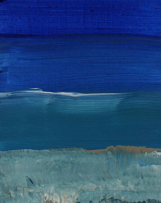 Turquoise Painting - Soft Crashing Waves- Abstract Landscape by Linda Woods