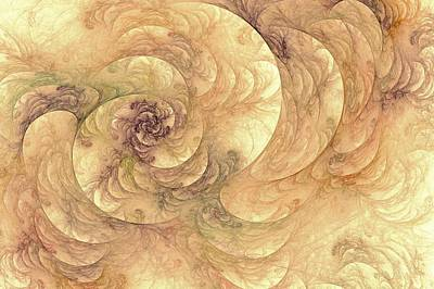 Soft Fractal Filigree Yellow Art Print by Doug Morgan