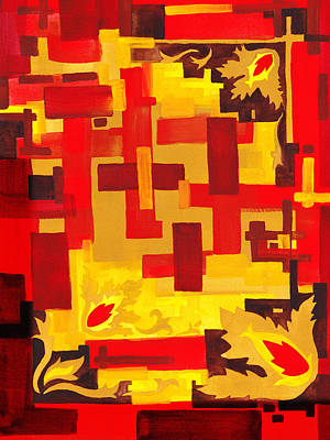Soft Geometrics Abstract In Red And Yellow Impression Iv Art Print