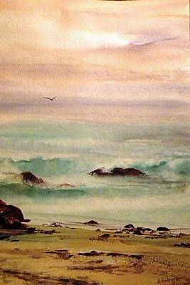 Painting - Soft Light Penguin Beach by Evelyn Antonysen