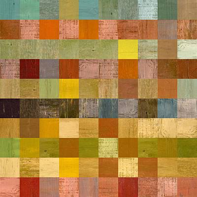 Blocks Panel Painting - Soft Palette Rustic Wood Series Ll by Michelle Calkins