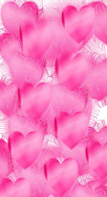 Digital Art - Soft Pink Hearts Ip by Roy Erickson