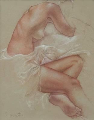 Sepia Chalk Drawing - Soft Repose by Heidi Lee