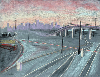 Painting - Soft Sunset Over San Francisco And Oakland Train Tracks by Asha Carolyn Young