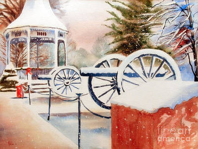 Winter Scenes Painting - Softly Christmas Snow by Kip DeVore