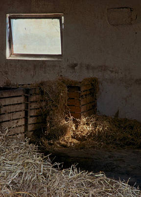 Rustic Barn Interior Photograph - Softly The Sun by Odd Jeppesen