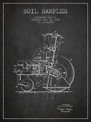 Soil Sampler Machine Patent From 1965 - Dark Print by Aged Pixel