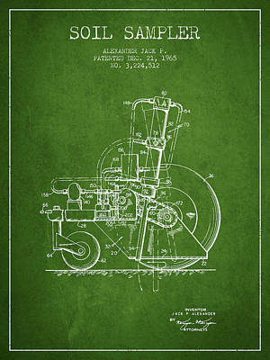 Soil Sampler Machine Patent From 1965 - Green Print by Aged Pixel
