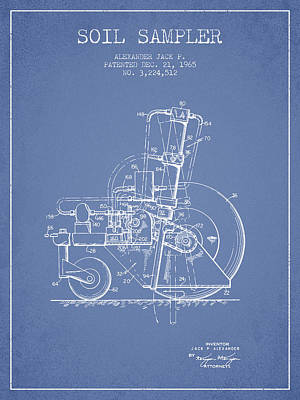 Soil Sampler Machine Patent From 1965 - Light Blue Print by Aged Pixel