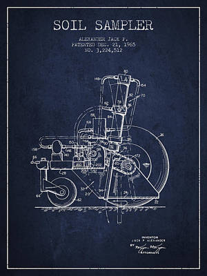 Soil Sampler Machine Patent From 1965 - Navy Blue Print by Aged Pixel