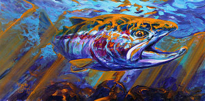 Trout Painting - Sol Duc Steel by Savlen Art