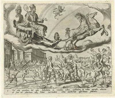 Wrestling Drawing - Sol, The Sun, And His Children, Harmen Jansz Muller by Harmen Jansz Muller And Hieronymus Cock