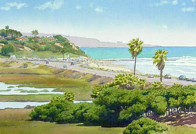Palms Painting - Solana Beach California by Mary Helmreich