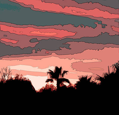 Art Print featuring the digital art Solana Beach Sunset 1 by Kirt Tisdale