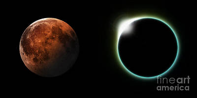 Solar Eclipse Digital Art - Solar And Lunar Eclipses by Antony McAulay