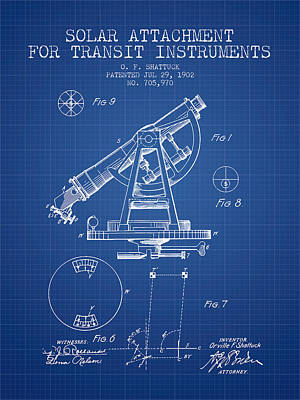 Solar Attachement For Transit Instruments Patent From 1902 - Blu Art Print
