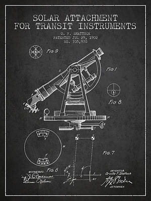 Surveying Drawing - Solar Attachement For Transit Instruments Patent From 1902 - Cha by Aged Pixel