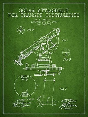 Surveying Drawing - Solar Attachement For Transit Instruments Patent From 1902 - Gre by Aged Pixel