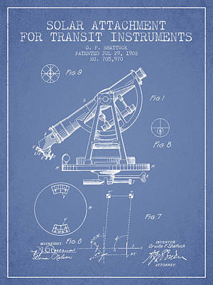 Surveying Drawing - Solar Attachement For Transit Instruments Patent From 1902 - Lig by Aged Pixel