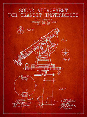 Surveying Drawing - Solar Attachement For Transit Instruments Patent From 1902 - Red by Aged Pixel
